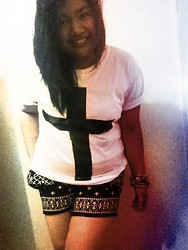 Bey Siongco - Own Design Diy Cross Shirt, Vintage Black And White Aztec Shorts, Various Charm Bracelets - The cross shirt