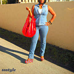 Simply Sassy's Style - A Stalker of Fashion - Lover of Cars - Multi Colored Platform Wedges, Chambray Jean Vest - Chambray and Red