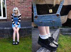 Sophie Bee - H&M Strippy Jumper, Miss Selfridge Denim Pinafore Dress, Dollybowbow Scrabble Necklace, Underground Leopard Print Creepers, Topshop Frilly Socks - All alone in this plastic jungle
