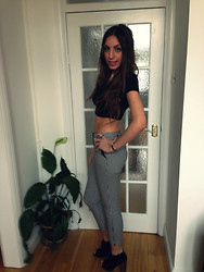 Teral Atilan - Topshop Crop Top, Topshop Dogtooth Print Trousers, Urban Outfitters Peeptoe Booties - I'm Crazy But I'm Free