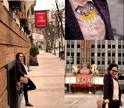 Amber Dryden - Anthropologie Statement Jewel Necklace, Anthropologie Contrast Knit Blazer, Forever 21 Scalloped Chain Bag - Cold Hands, Warm Heart