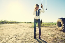 Amanda Del Duca - Forever 21 Button Down, Vintage Belt, J Brand True Blue Jeans, Zara Boots - America, The Beautiful