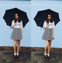 Isabella Wight - Céline Celine Top, Asos Striped Dress, Jo Mercer Wedges - CÉLINE