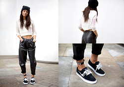 India Rose - Market Hq Cropped Sweater, Nelly Ankle Cuff, Topshop Leather Joggers, Nike Sneakers - A DISORDERLY FASHION