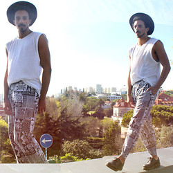 Oli Worlds - Vintage Atech Print Pants, H&M White Top, Made In Bolivia Vintage Hat, Dr. Martens Black Leather Shoes - BW X 3 #1