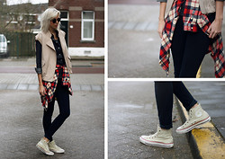 Sietske L - Romwe Sunnies, Minusey Gilet, Monki Checkered Shirt, Topshop Jeans, Converse All Stars - Around the corner