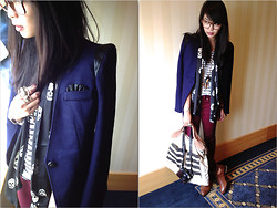Adelle Veronica - Zlz Navy Suit Jacket, Zara Maroon Jegging, Gosh Canvas Bag - Private preview