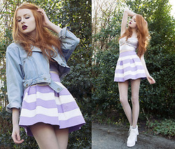 Olivia Emily - Secondhand Denim Biker Jacket, Lashes Of London Bralet, Stelly Skirt, Jeffrey Campbell Lita - Hard Candy.