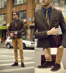 Adam Gallagher - Similar Here  > Blazer, Similar Here  > Jean Shirt, Camo Tie, Clubmaster Sunglasses, Giles And Brother Railroad Spike Bracelet, Holdall & Co Chestnut Satchel, Tiger Of Sweden Trousers, Beckett Simonon Chukka Suede Boots - Minimal in Camo