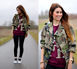 Larissa Verbon - Episode Army Jacket, Dope Crewneck, Old Navy Skinny, Hema Watch, Diy Chain Bracelet, Creative Recreation Sneakers, Faux Leather Backpack - Double Army Printed