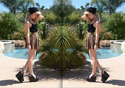 Jessica Yocum - H&M Beanie, H&M Lace And Velvet Crop Top, H&M Leopard Print Mini Skirt, Jeffrey Campbell Adelle Wedges - Idle Teen