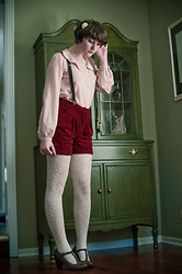Arielle Marie - Forever 21 Scalloped Button Down Blouse, Forever 21 Corduroy Shorts With Suspenders, Rosette Cluster Clip, One Of Two Brown T Strap Pumps - Dainty Blush Pink and Rouge