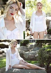 Lily McCune - Gem Headpiece, Zara Silk Button Down, Zara Lacey Shorts, Bustier - The Sea and The Sun