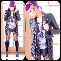 Heather H - Twik Galaxy Skull Tank, Dynamite Hooded Cardigan, Ardene Lace Tights, Garage Headband, Claire's Neckalce, H&M Moto Jacket, Jeffrey Campbell Steel Cap Litas - There's A City In My Mind