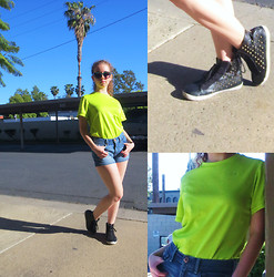Christina Oliva - American Eagle Outfitters High Waisted Super Soft Denim Shorts, Forever 21 Studded Faux Leather Hightops, Bp Tropical Sunnies - Adopted Neon