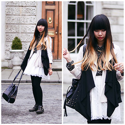 Van Anh L. - Topshop Drape Jacket, Forever 21 Asymmetric Vest, Forever 21 Dotted Blouse, H&M Lace Skirt, New Look Bag, Topshop Boots - Black And White Layers