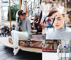 Ingrid Wenell - Second Hand Polo Sweater, Ray Ban Sunglasses, H&M Trousers, Converse Sneakers, Nelly Earrings - Merry-go-round at Rue de Rivoli