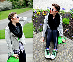 Allegra M - Nordstrom Coat, Converse All Stars - Neon Green Machine