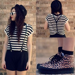 Hope Bidinger - Vans Sk8 Hi, Forever 21 Striped Crop Top, Ebay Pork Pie Hat, Gojane Suspenders - Kool Kat