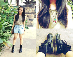 Erika R. - Topshop Army Green Muscle Shirt, Cotton On High Waist Denim Shorts, H&M Cherry Necklace, Dr. Martens Black 1460's, Esprit Sling Bag, Calf High Black Socks - Coachella Dreamin'