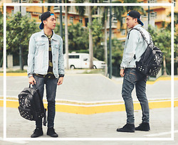 Francisco Reyes - Forever 21 Denim Jacket, Camouflage Shirt, Mcm Studded Bag - Hitchhiking
