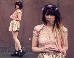 Rachael Dobbins ♡ - Roses And Clementines Headband, Colour Xtreme Pink Hair, Asos Gold Leather Skirt - Sunday School