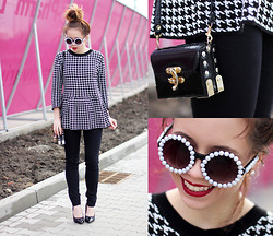 Wioletta Mary Kate - Sheinside Peplum, Sarenza Shoes, Sunglasses - Hound's-tooth Check Peplum