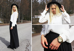 Fanny Larsson - Primark Blouse, American Apparel Wide Pants, Marc By Jacobs Blade Watch, Hat, Modekungen Creepers - Let me on your way