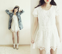Lan Choi - Artfit Leaph Floral Print Snapback Cap, Artfit Shovi Washed Denim Jacket, Artfit Yashica Embroidered Mini Dress, Artfit Eyelet Punched Open Toe Heel - Fresh Denim jacket with Romantic Lace Dress by ARTFITSHOP