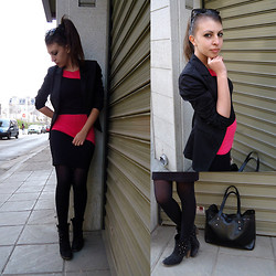 Marina Petrova - Koketna Dress, Local Shop Black Blazer, Humanic Ankle Boots, Koketna Black Perforated Bag - Colored block dress