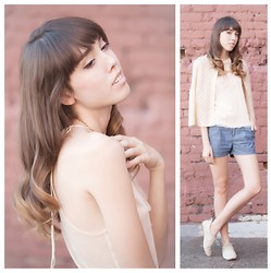 Zoë Harvey - Vintage Knit Sweater, Lamb And Flag Chambray Shorts, Hale Bob Cream Tank, Cream Oxfords - Cream and Chambray