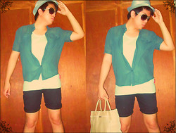 Jace Amornkuldilok - Oxygen Green Sheer Button Down Shirt, Bench Body Light Green Tank Top (Worn Inside), Penshoppe Black Shorts, Faccino Woven Bag - Who's Hotter This Summer?