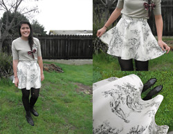 Renee Schmee - If I Wear This Shirt To An Appointment Get Tokens Yeee Cheshire Cat Dentist, Handmade Floral Maroon Hair Bow, Handmade Toile Print Skirt, Black Tights, Aldo Black Ankle Boots - Handmade Toile Print Skirt ~~great fun for twirling in~~