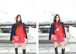 Melody Tan - Max&Co. Jacket, Max&Co. Sweater, Max&Co. Bag, Max&Co. Skirt, H&M High Boots - Crossing Borders