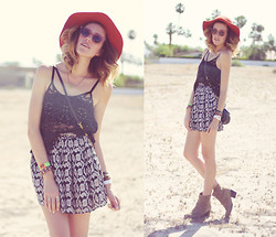 Dani Roxanne - Urban Outfitters Orange Floppy Hat, Free People Studded Lace Top, Raen Optics Vintage Style Sunnies, Brandy Melville Usa Pattern Skirt, Steve Madden Suede Booties - Coachella Day 1