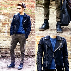 Peter C. - Persol Reflex Limited Edition Shades, Balmain Biker Jacket, Zara Dark Blue Sweater, Zara Loose Fit Pants, Dr. Martens Leather Boots, Givenchy Nightingale Messenger Tote - I don't need a reason.