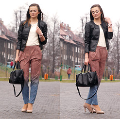 Katarzyna Tarach - H&M Pants, Stradivarius Leather Jacket, Zara Heels, H&M Bag - Pajama pants.