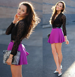 Jessica R. - Shoedazzle Silver Heels, Minkpink Fuchsia Circle Skirt, Forever 21 Black Lace Top - Girls Just Wanna Have Fun