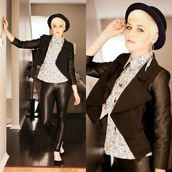 Samii Ryan - Gap Top, Iron Fist Clothing Tuxedo Jacket, H&M Hat, By Samii Ryan Ear Cuff, Cotton On Leggings, Ebay Shoes - Floral Black