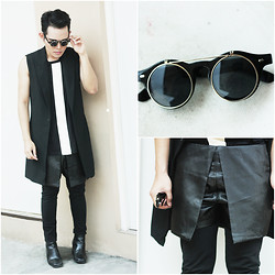 Karl Philip Leuterio - @Trendphile Round Glasses, Cos Vest, Gold Dot Shirt, Uniqlo Pants - The different shapes of black