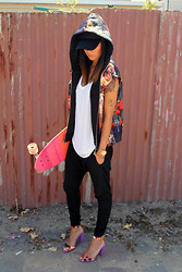Lisa O - Sportsgirl Vest, Alexander Wang Tee, Globe Skateboard, Bassike Pants, Asos Heels, Michael Kors Watch, Cotton On Cap - Twice As Nice