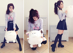 Lulu La Lolita - Wildfox Couture Love Spell Long Sleeve Crew Tee, Platform Boots, None Easter Round Sheep ^ ^, None Black Opaque Hold Ups, American Apparel Shiny High Waist Skirt, Pinkcad Inverted Crosses Waist Belt, Ebay Bell Choker - Skater Doll