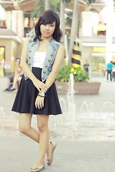 Loraine Villanueva - Forever 21 White Basic, Te Lu Jeans Denim Vest, Fashionroulettex Black Skater Skirt - Girl On Fire