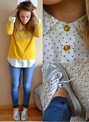 Mathilda Vrn - Sweewe Yellow Knit, Pimkie Jean, Victoria Silver, Karl Marc John Polka Dot Shirt - Lemoncello