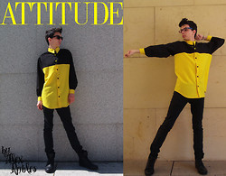 Alex Robles - Ray Ban Glasses, Hecha Por Mi/Made By Me Attitude Shirt, Pull & Bear Jeans, Pull & Bear Boots - Attitude