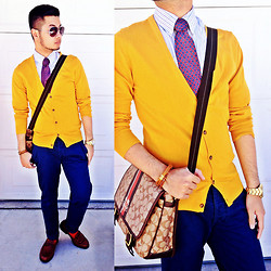 Shawn C. - Coach Messenger Bag, Givenchy Vintage Tie, H&M Mustard Yellow Cardigan, Topman Chinos - Mellow Yellow