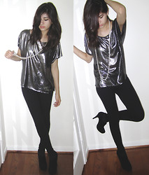 Giovanna C. - Forever 21 Silver Top, String Of Pearls, Black Leggings, Black Ankle Boots - 80's Love Song