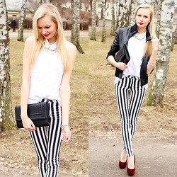 Madara L - New Yorker Leather Jacket, H&M White Sleeveless Blouse, H&M Striped Pants, Zara Burgundy Red Heels - Long stripes