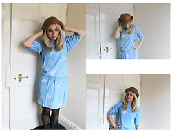 Alice Rose - Topshop Pork Pie Hat, French Connection Uk Fox Necklace, Vintage Blue Dress (Altered) - Give me a Pork Pie over a Sausage Roll any day