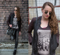 Nicola HM - Ray Ban Sunglasses, All Saints Leather Jacket, Cambridge Satchel Company, Pull & Bear Jeans, Harry Hall Boots, All Saints Laurie Lipton Tee - Pelle Italiana